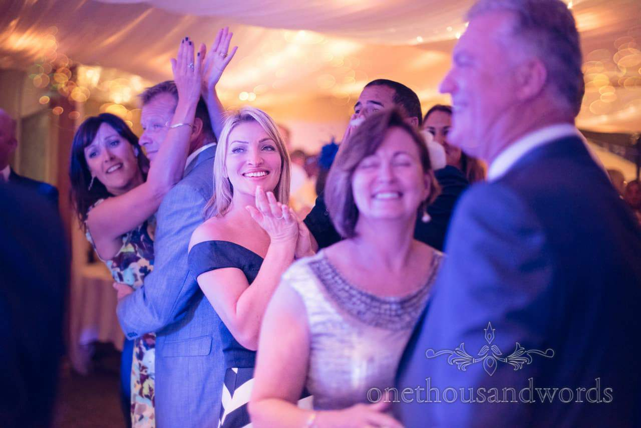 Wedding guests applaud first dance at harbour heights wedding photographs