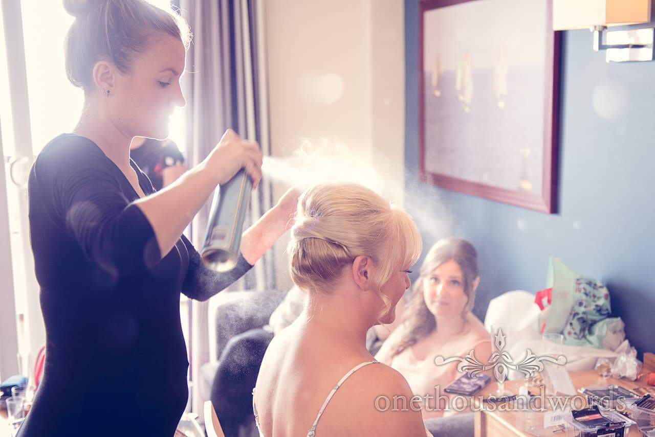 Wedding hair spray styling at Sandbanks Hotel beach wedding in Dorset