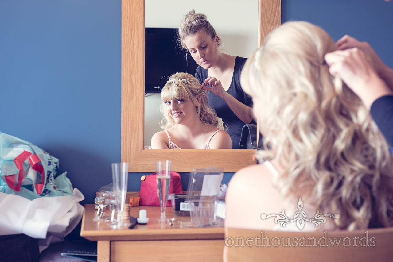 Wedding hair styling at Sandbanks Hotel wedding morning in Dorset