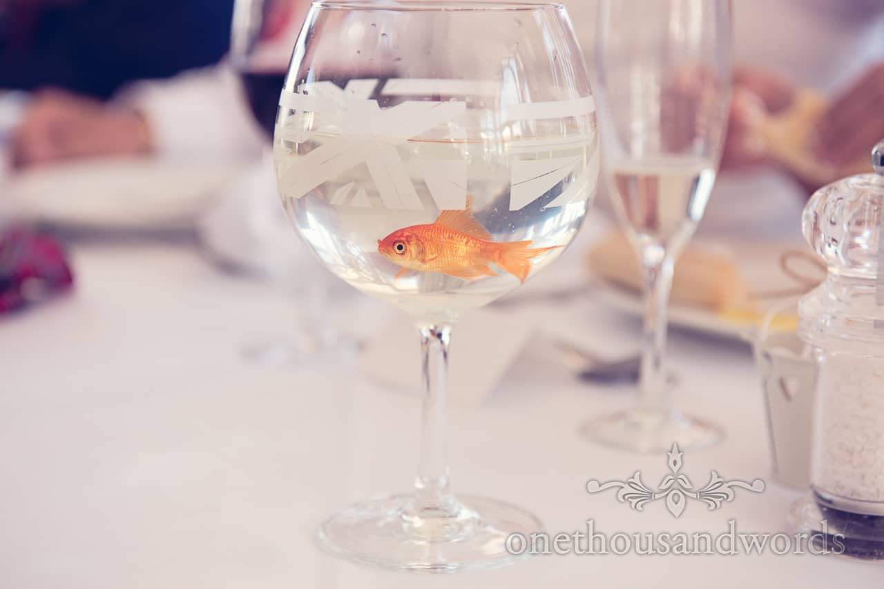 Wedding magician Sean Haydon's stunt goldfish in a glass at Sandbanks Hotel Wedding