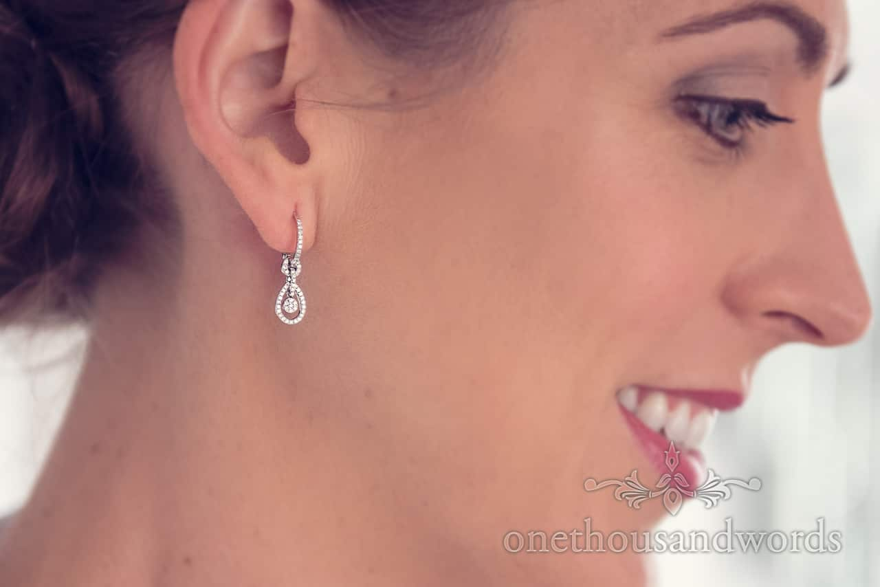 Wedding present earrings from morning of Harbour Heights wedding photographs