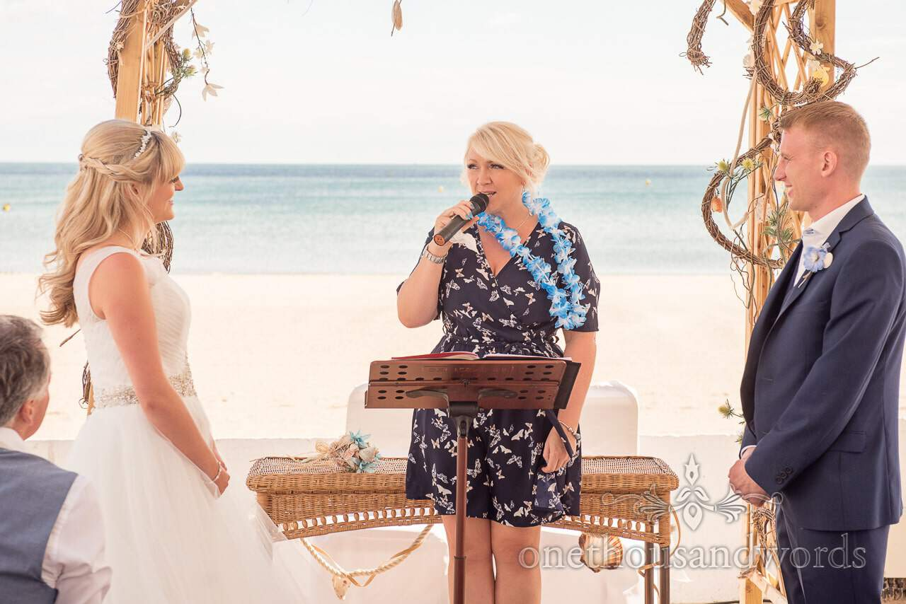 wedding readings at seaside theme wedding at Sandbanks Hotel wedding
