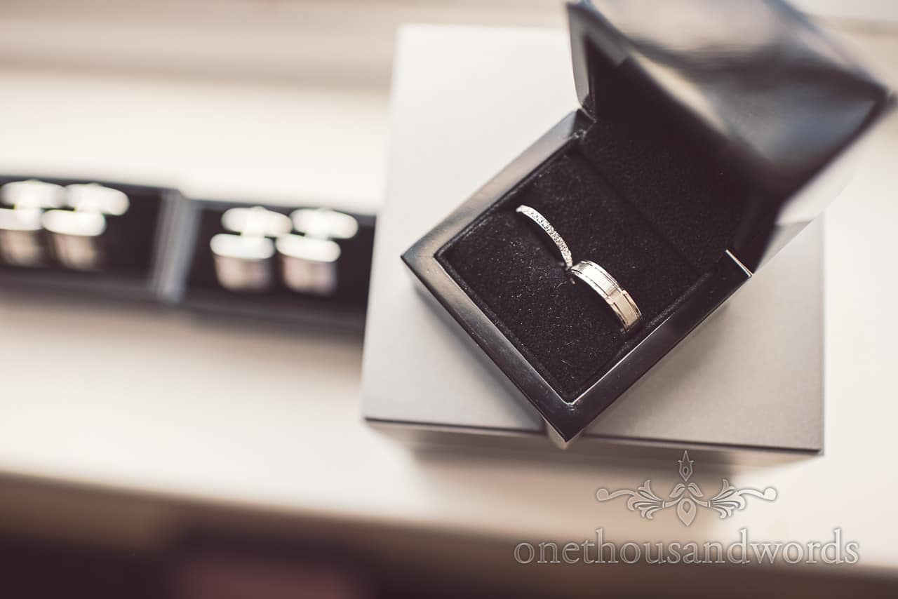 Wedding rings photograph with cufflinks at Sandbanks Hotel