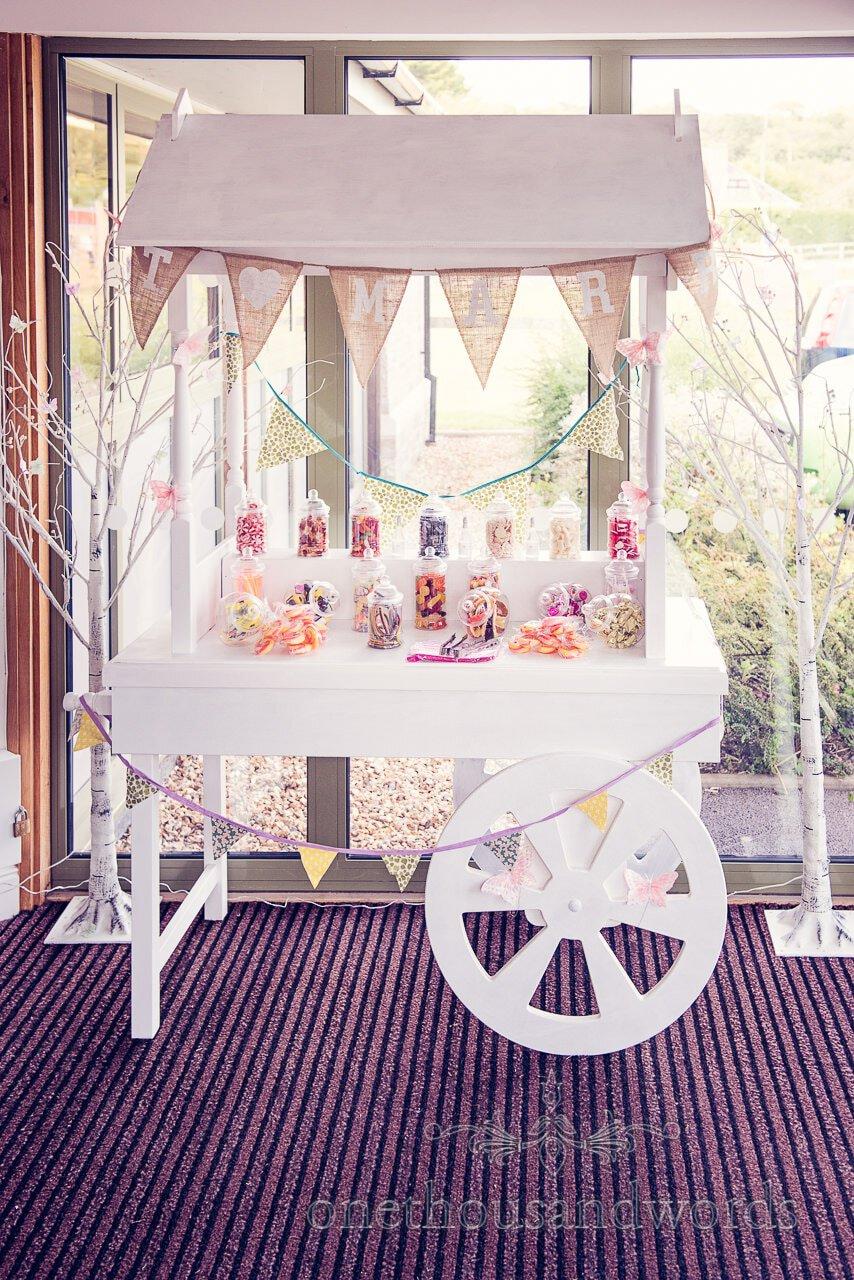Wedding sweet cart at Harmans Cross Village Hall Wedding in Dorset