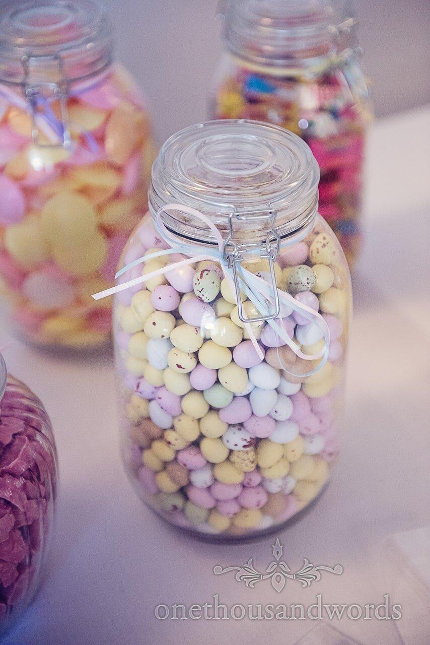 Wedding sweet jars with chocolate eggs at italian villa wedding