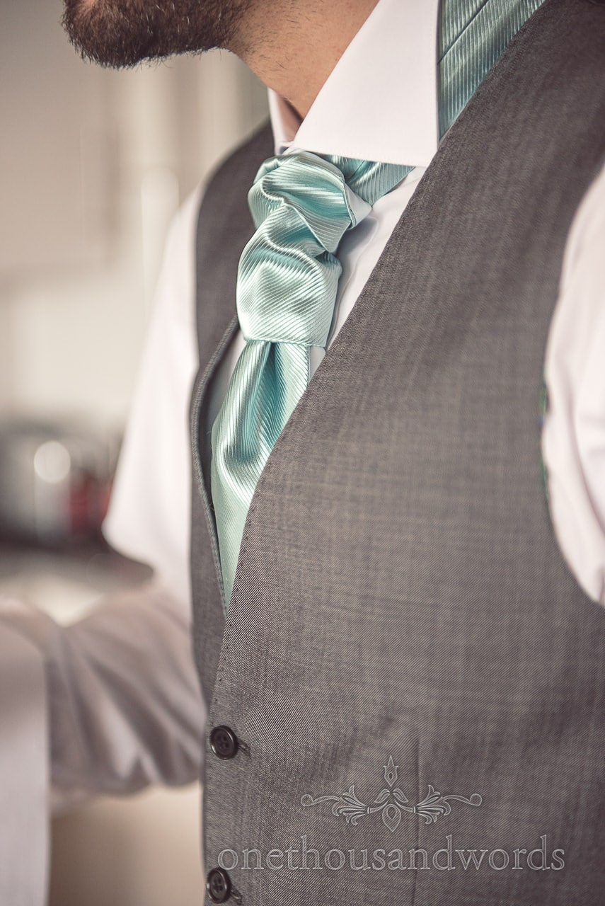 Aqua cravat detail from Harbour Heights wedding