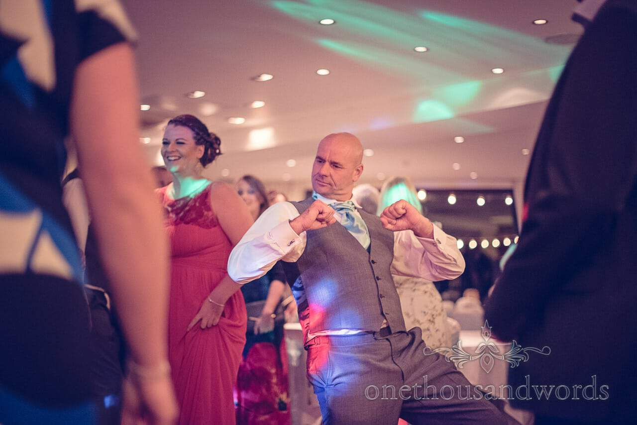 Best man dancing at Harbour Heights wedding