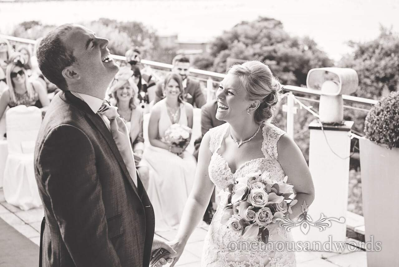 Black and white photograph at Harbour Heights Hotel outdoor wedding