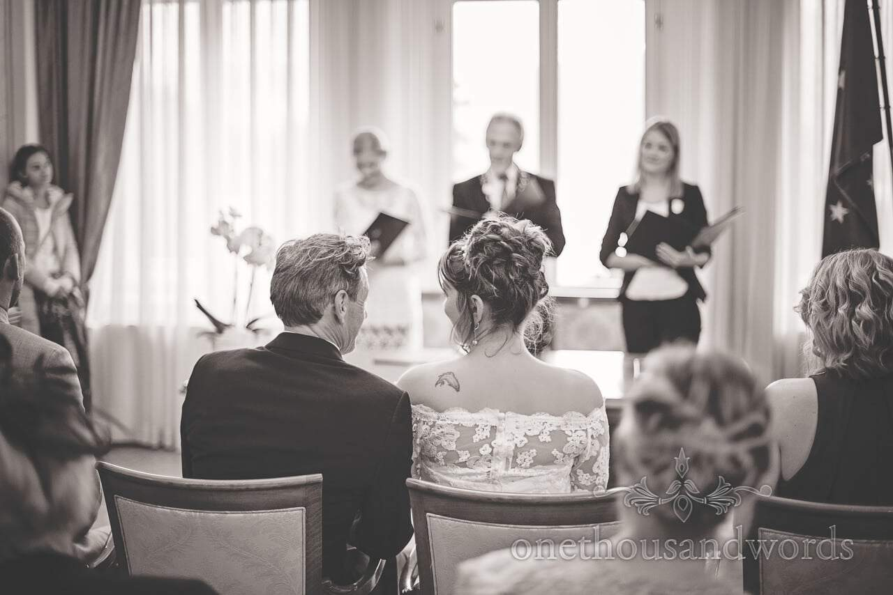 Black and white photograph of Slovenian wedding ceremony in Bled Town Hall