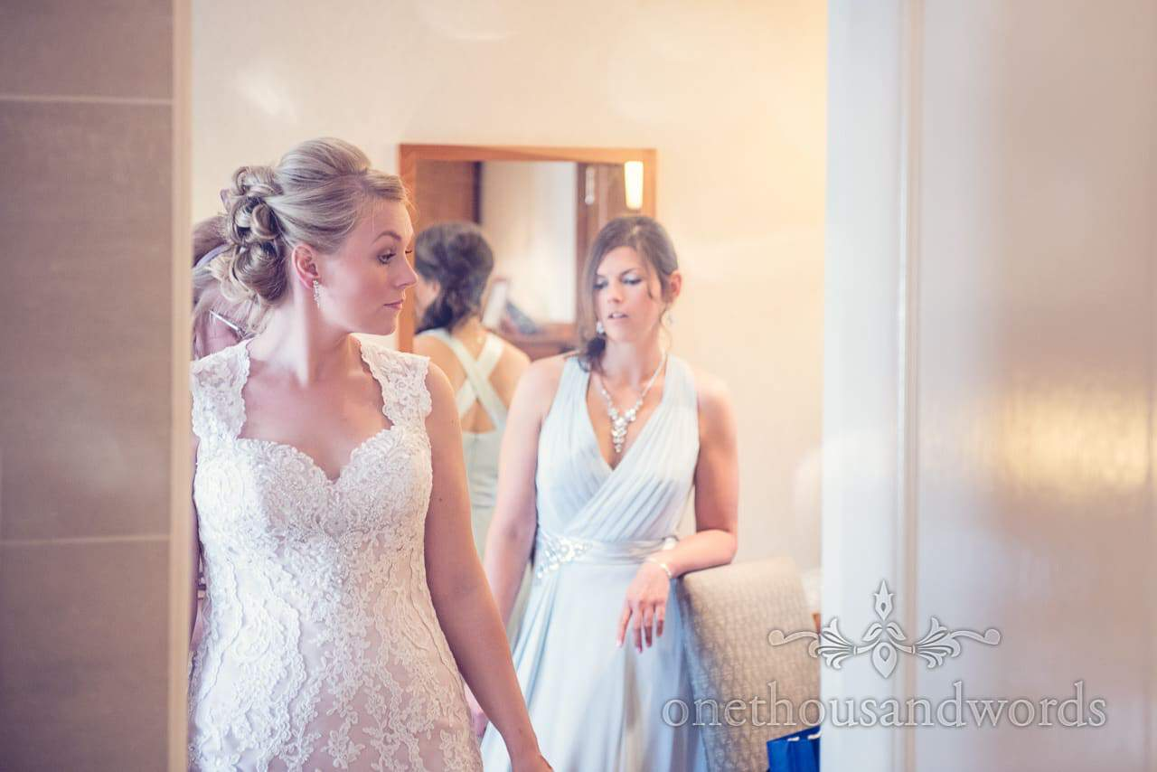 Bride and bridesmaid on morning of Harbour Heights wedding