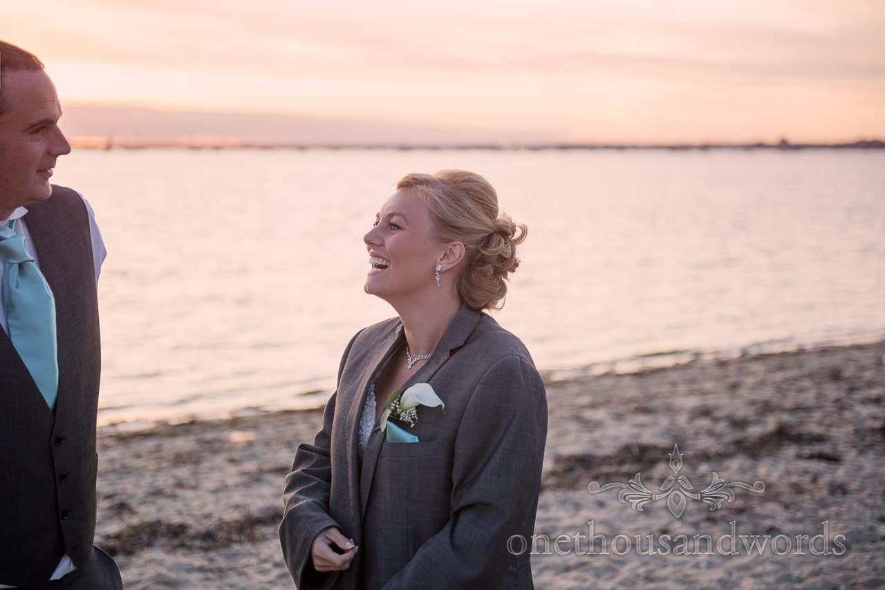 Bride and groom on the beach from Harbour Heights outdoor wedding