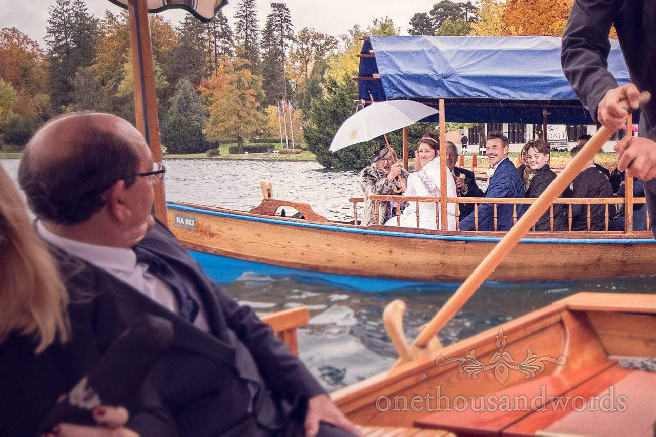 Bride and groom take a boat on Lake Bled in Slovenia