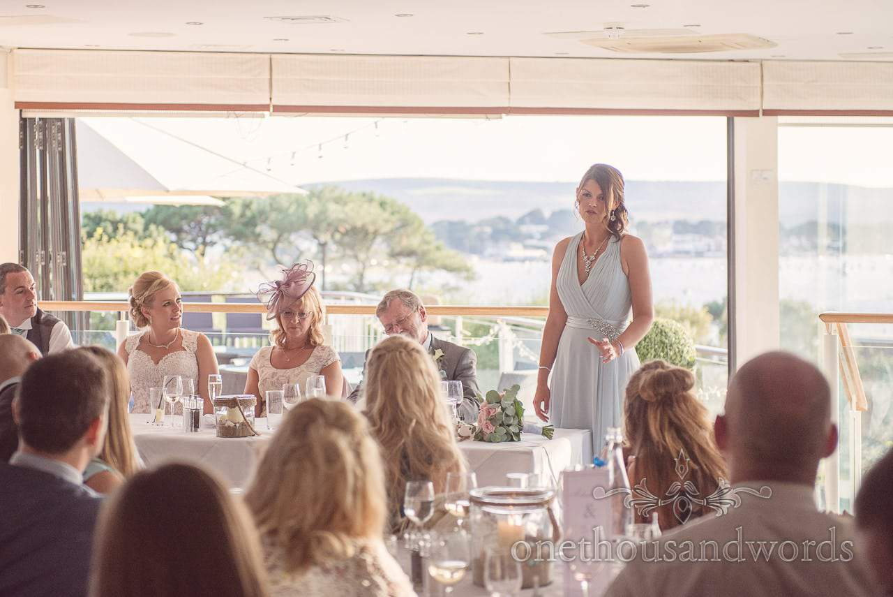 Bridesmaid gives a speech Harbour Heights wedding