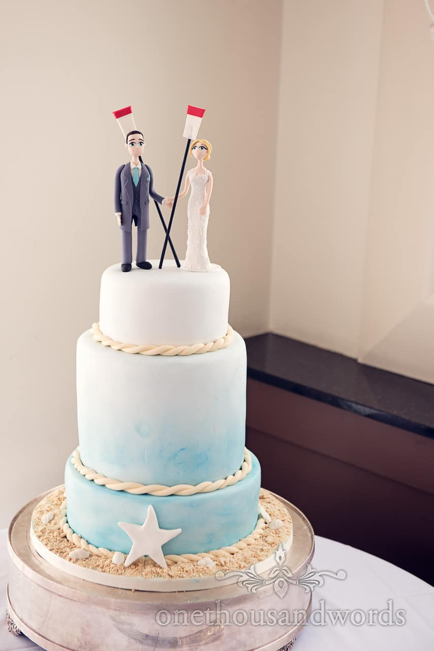 Cake with custom cake topper at Harbour Heights wedding