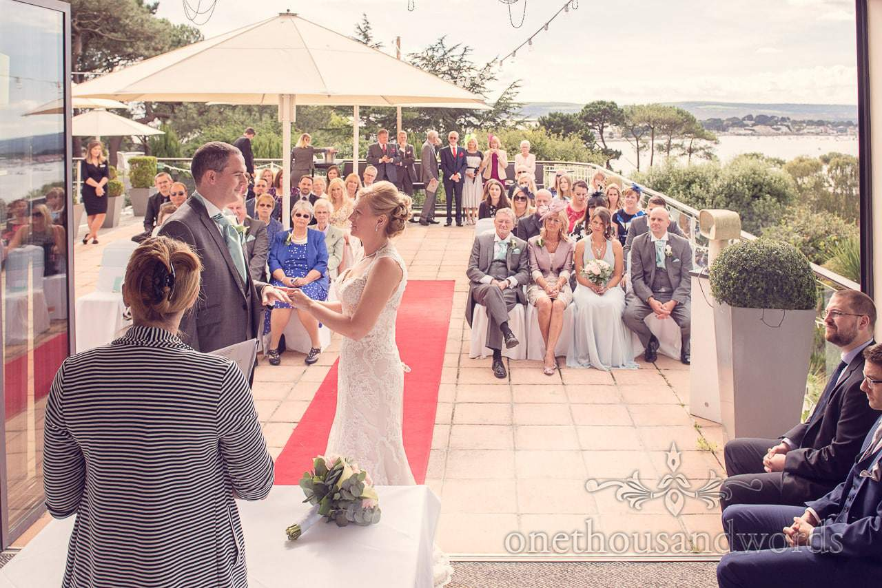 Civil ceremony at Harbour Heights Hotel outdoor wedding