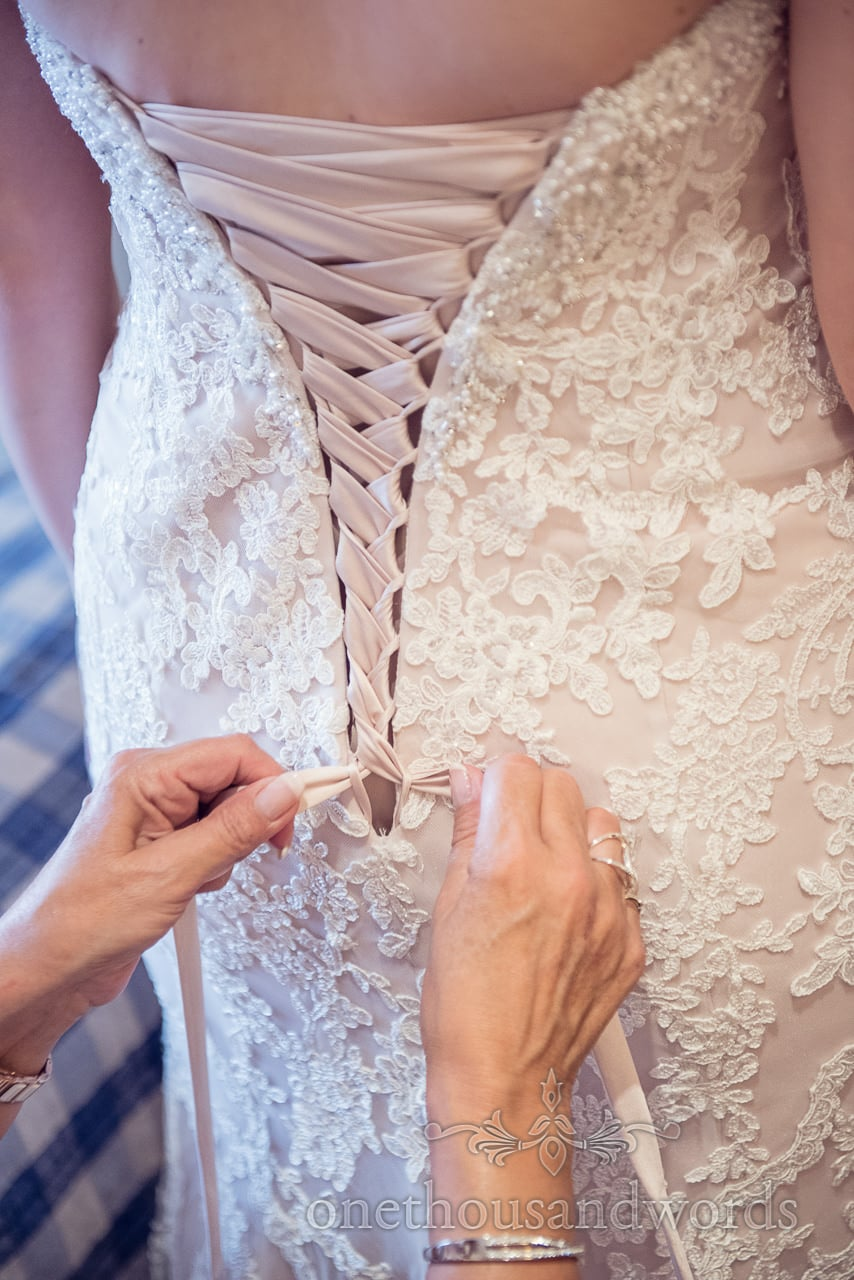Corset backed dress at Harbour Heights wedding