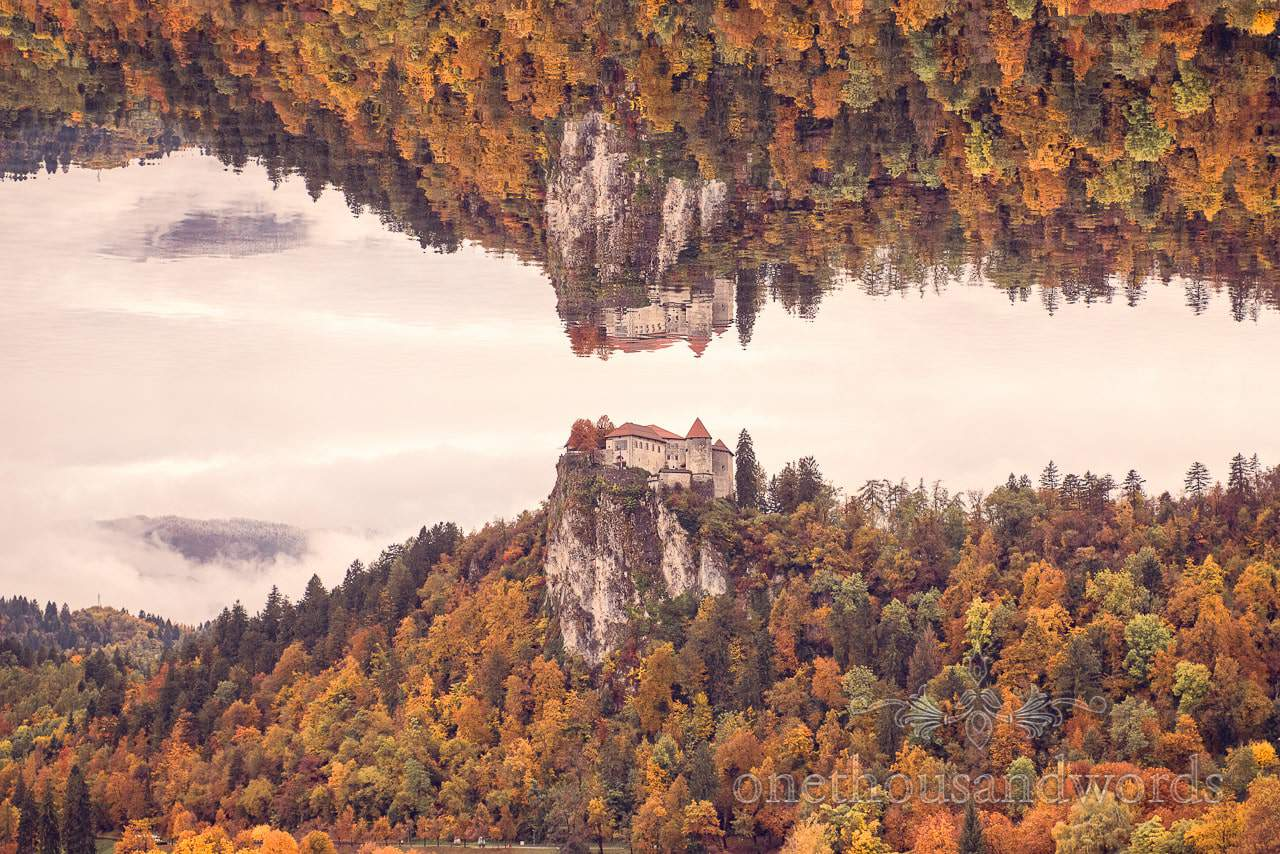 Bled Castle wedding destination in Slovenia with reflection