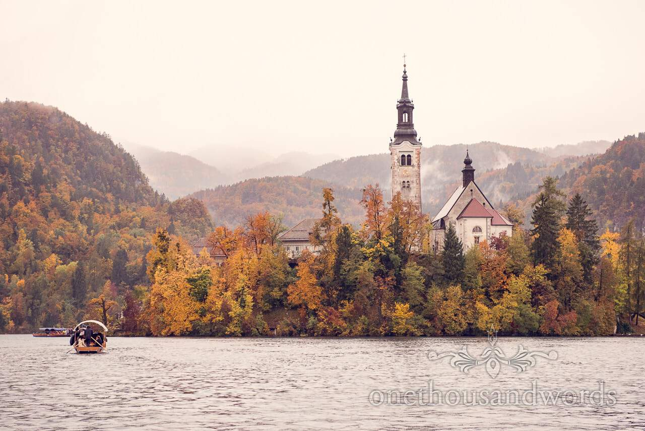 Destination wedding photographers capture Bled Island and Church of the Assumption of Mary