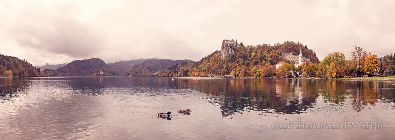 Destination wedding photographers capture Lake Bled, Slovenia in the Autumn