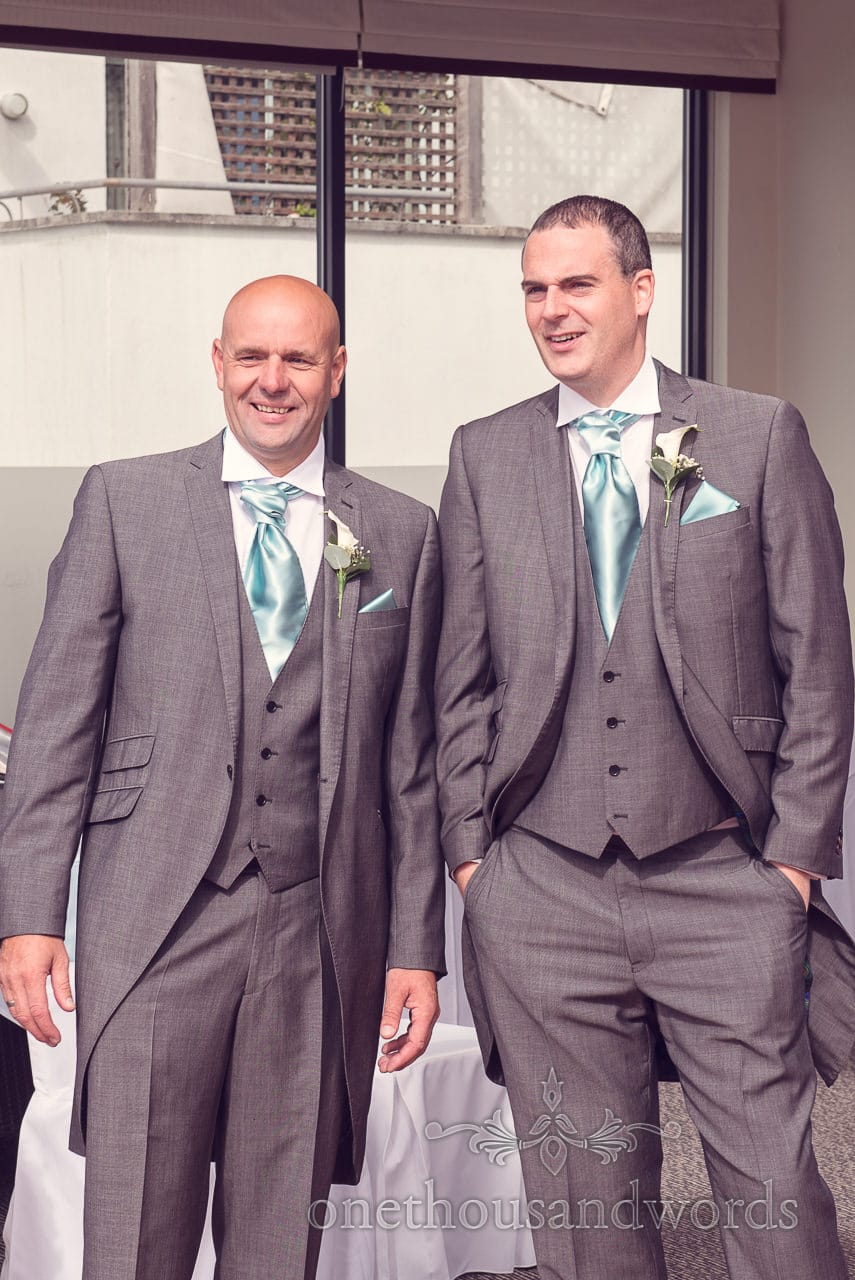 Groom and his best man at Harbour Heights Hotel outdoor wedding