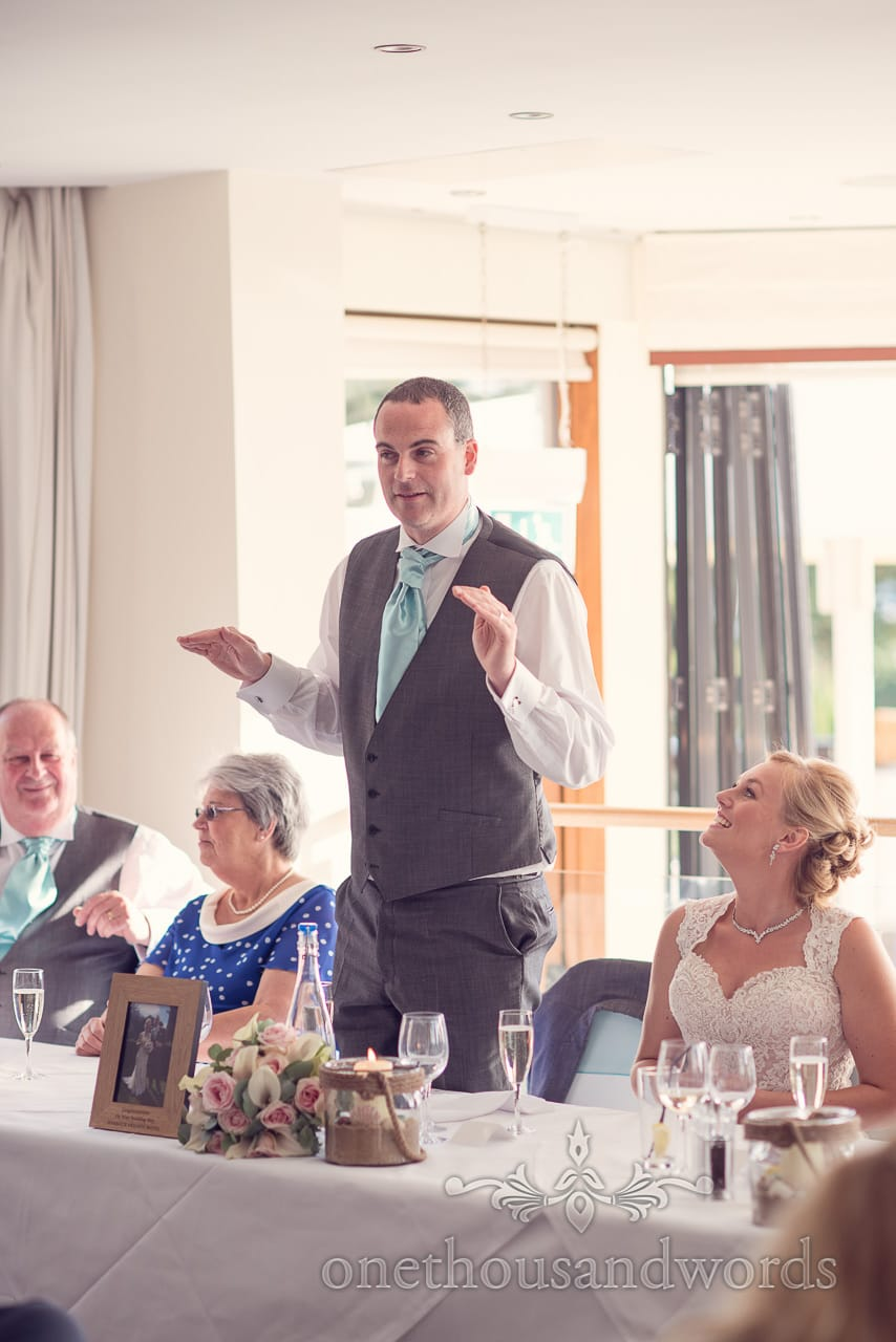 Groom during speech at Harbour Heights wedding