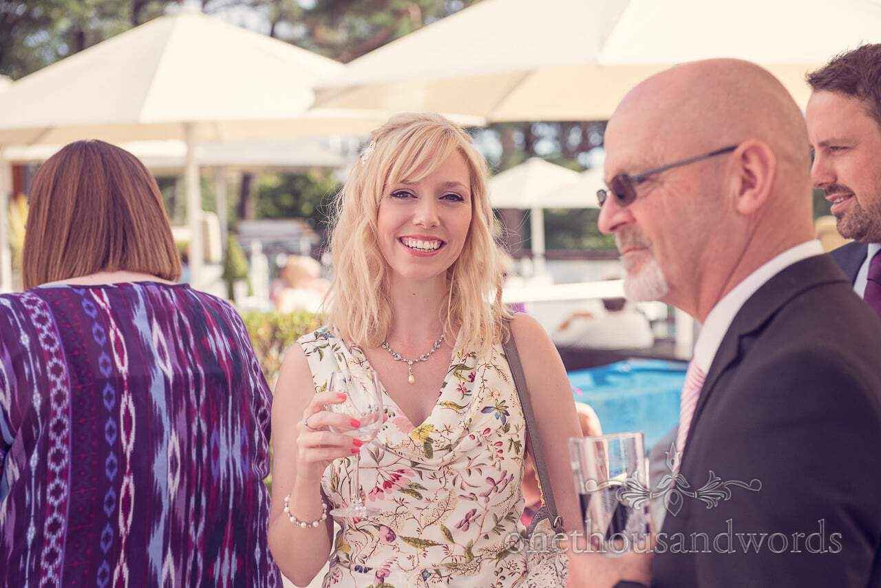 Guests on sun terrace at Harbour Heights outdoor wedding