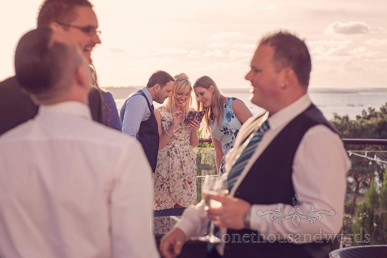 Guests on the private terrace Harbour Heights outdoor wedding