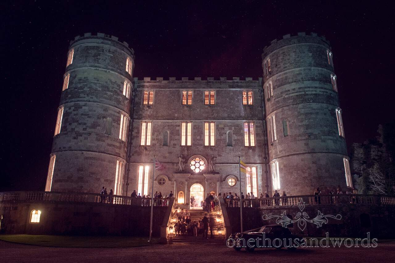 Lulworth Castle wedding venue at night from Dorset Castle wedding photographs