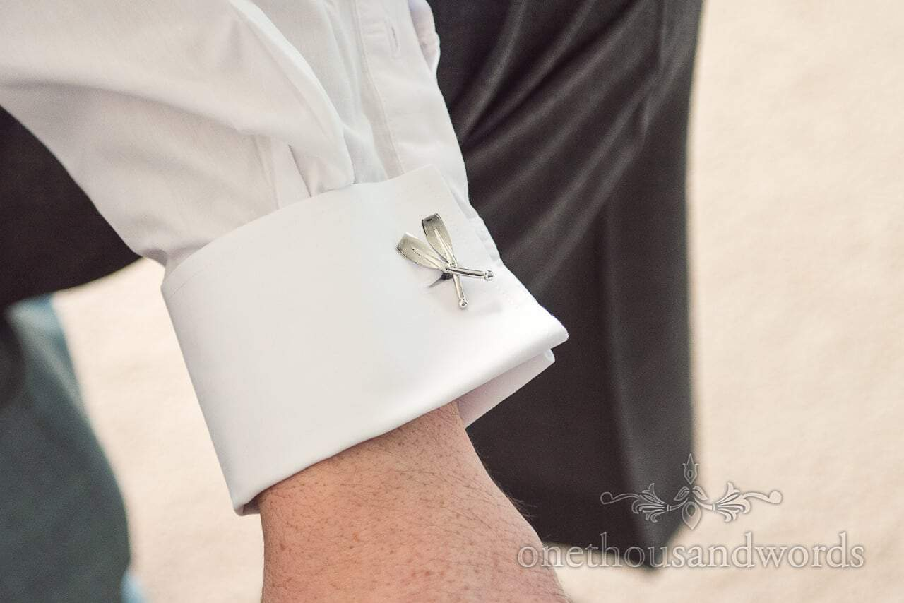 Rowing oars detail cuff links from harbour Heights wedding