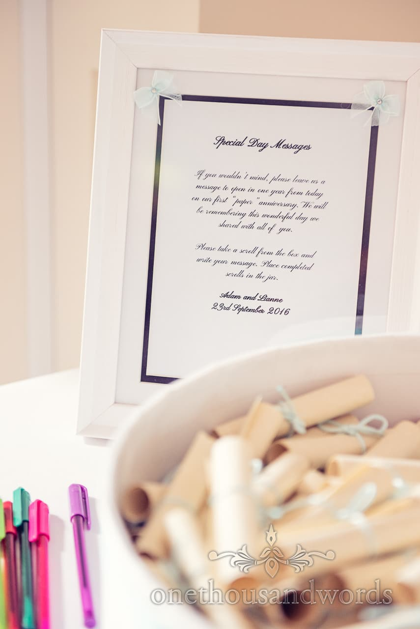 Special messages for bride and groom at Harbour Heights wedding