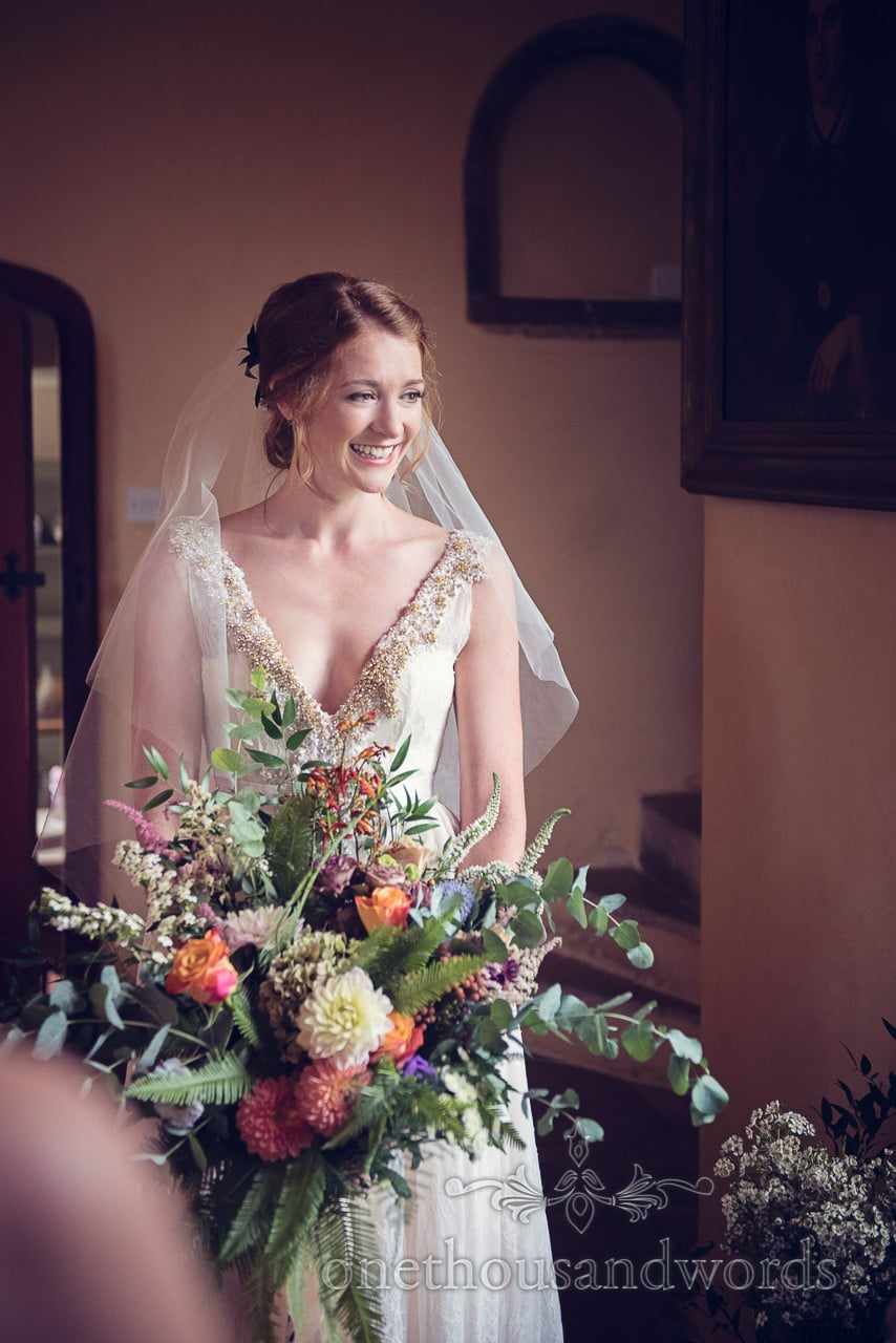 Stunning red head bride with hugewedding bouquet best wedding photos 2016