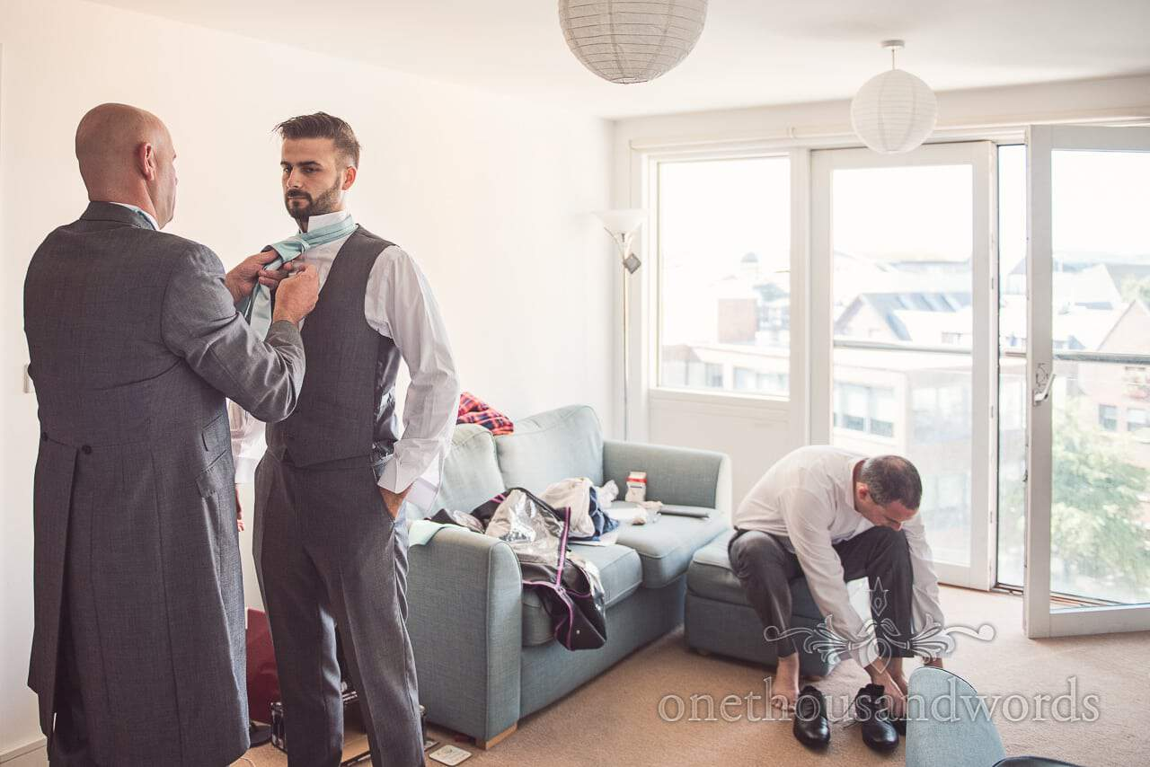 Usher, best man and groom prepare for Harbour Heights wedding