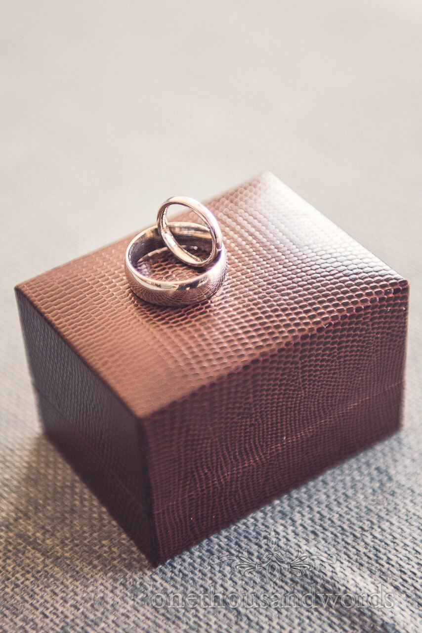 Wedding rings on box at Harbour Heights wedding
