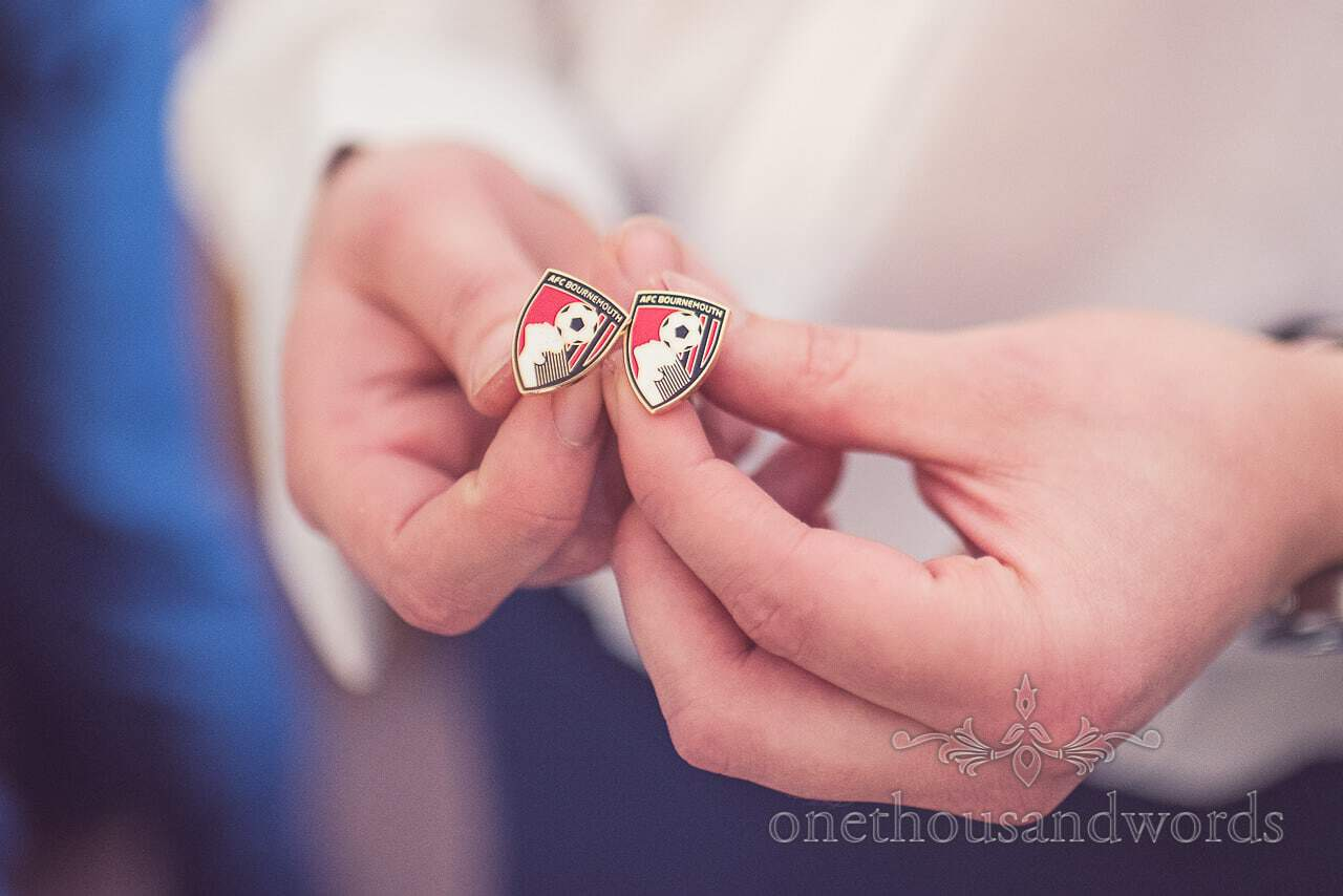 AFC Bournemouth cufflinks for groom on wedding morning