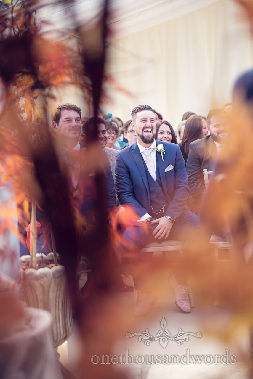 Best man during ceremony at Holme for Gardens Dorset wedding