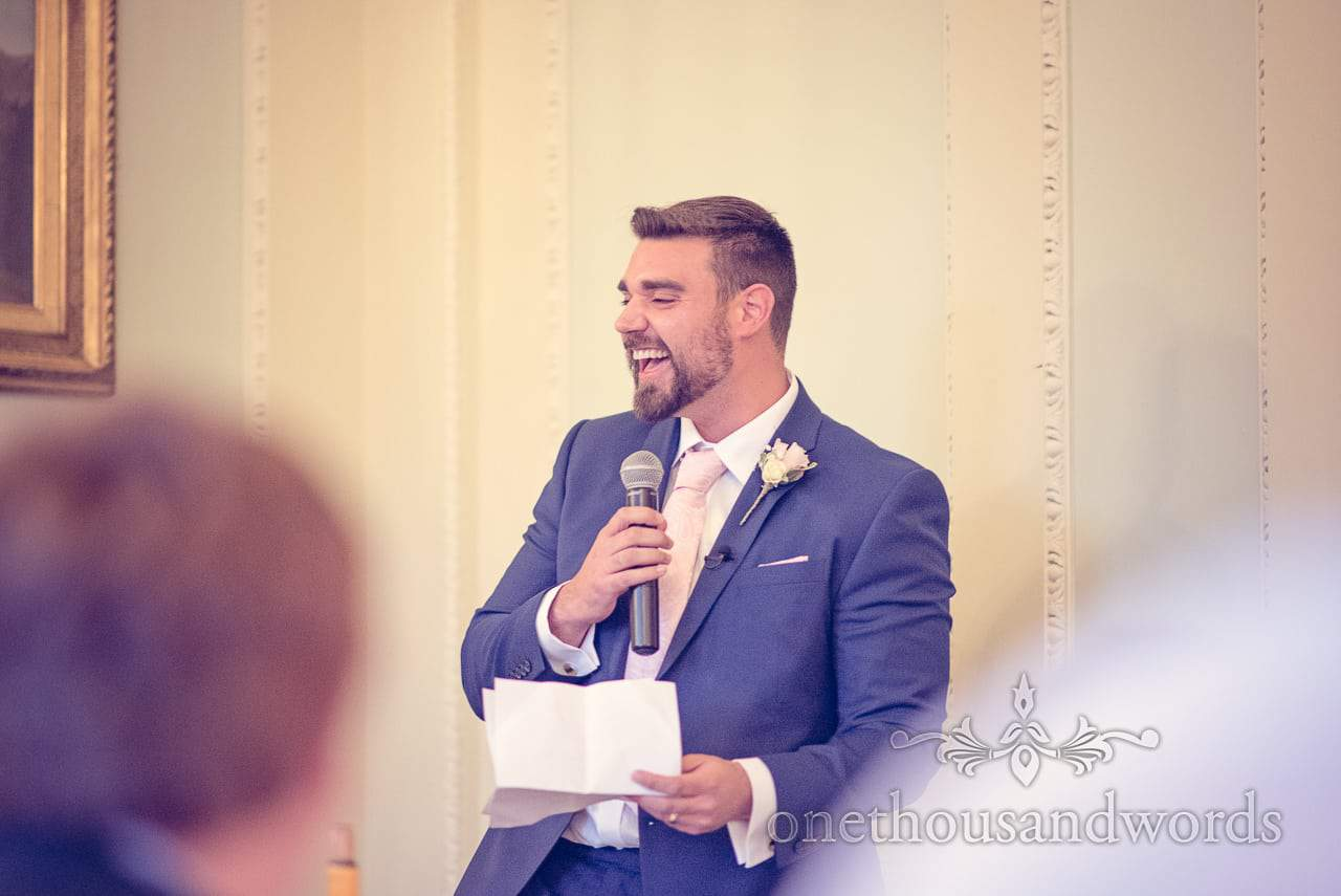 Best man laughs at best man's speech from Northcote House wedding photographs