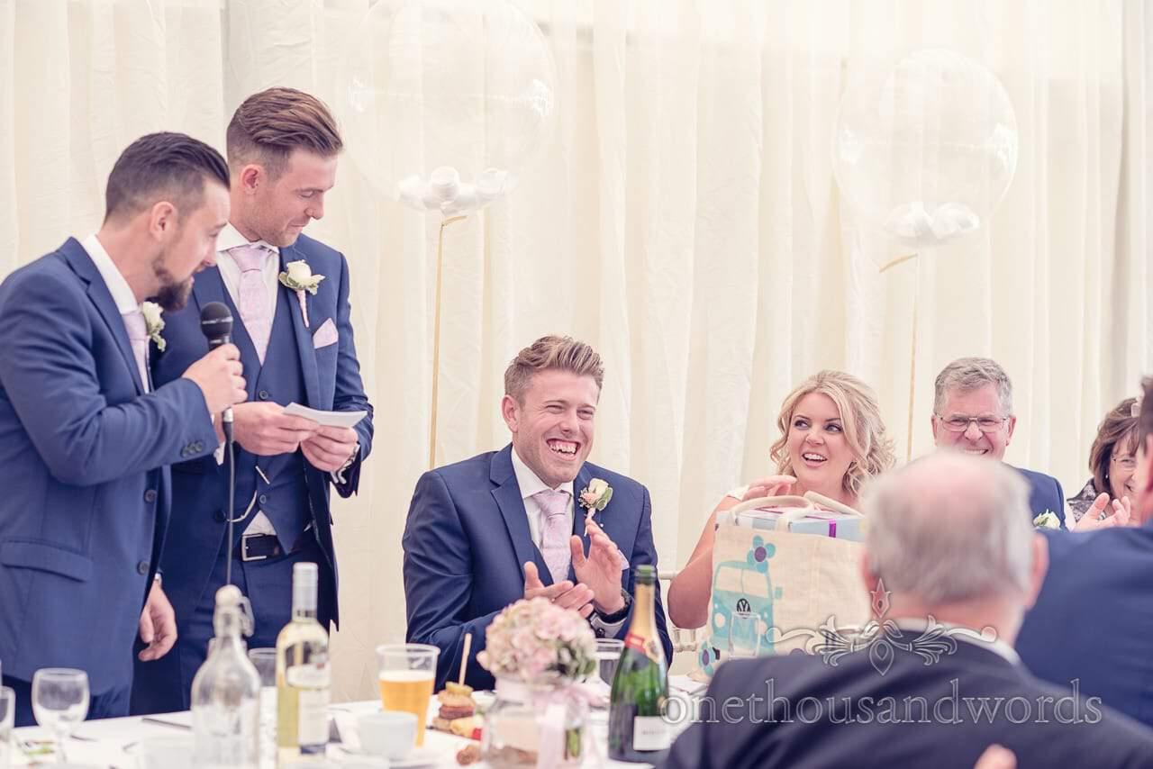 Best men deliver speech at Holme for Gardens Dorset Wedding