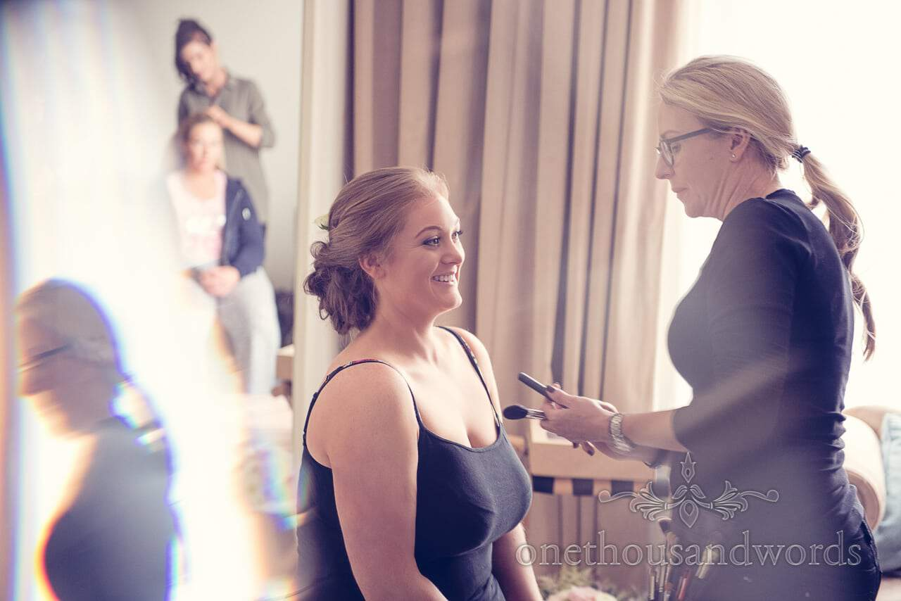 Bridal makeup from bridal preparations Northcote House wedding photographs