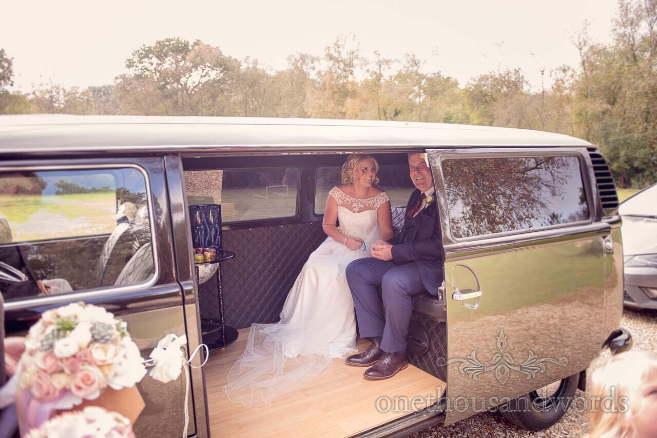 Bride and Father in VW Bus from Holme for Gardens Dorset wedding