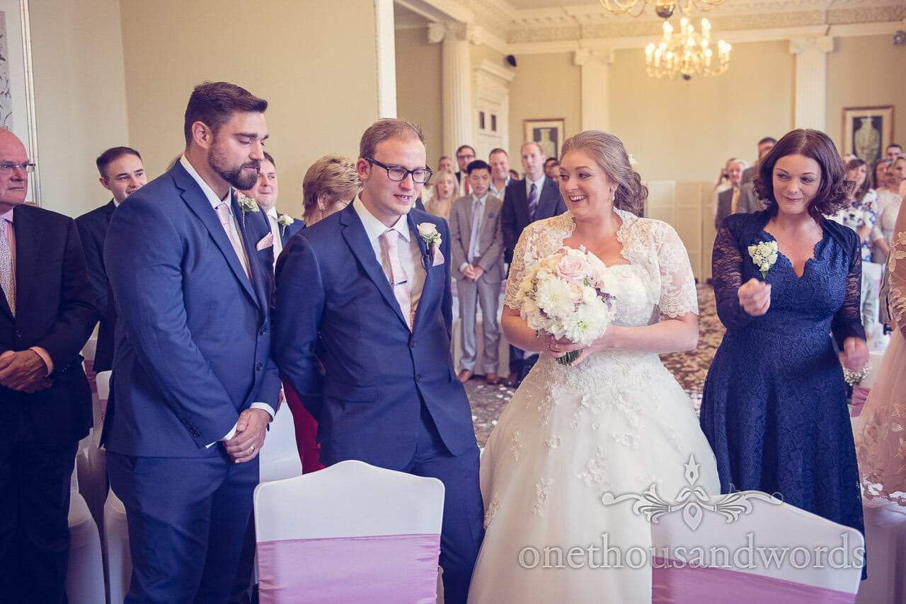 Bride arrive to a crying groom at Northcote House wedding ceremony photographs