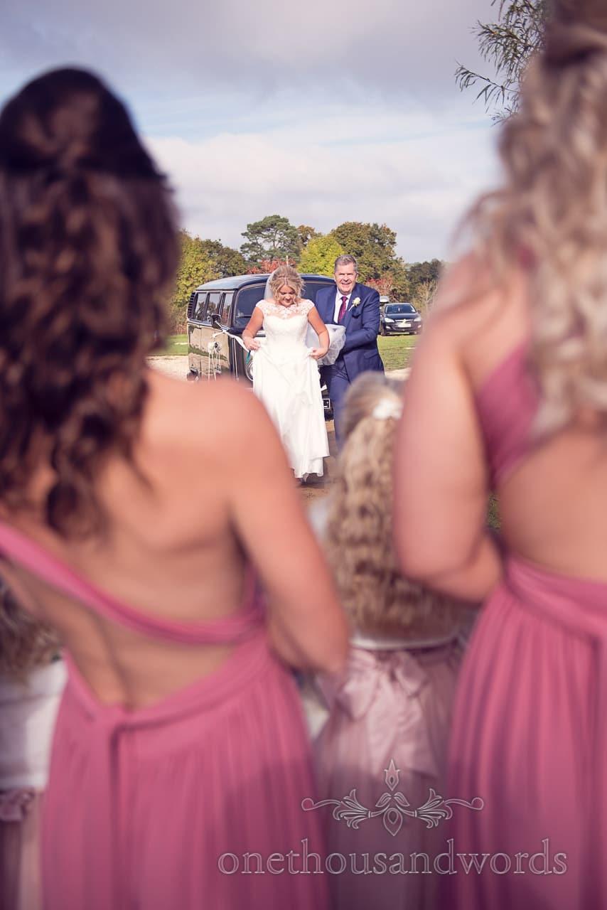 Bride arrives at Holme for Gardens Dorset wedding