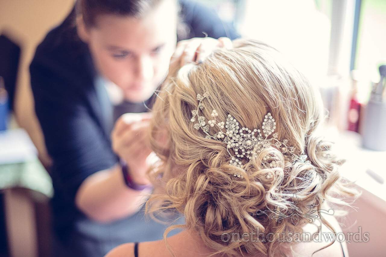 Bride has make up done before Holme for Gardens wedding