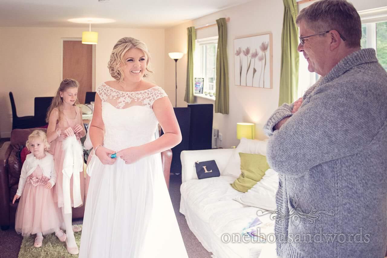 Bride in dress before Holme for Gardens wedding