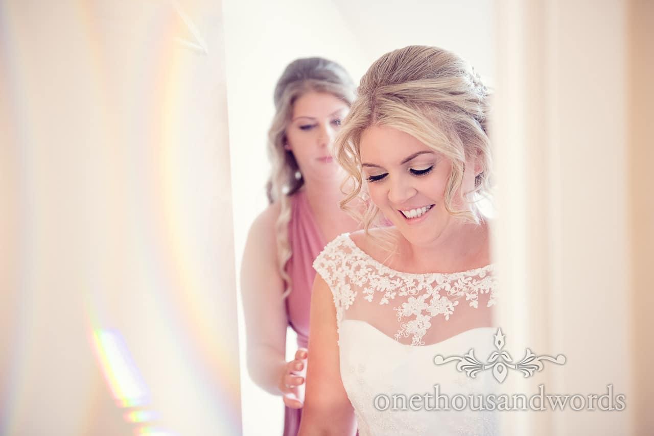 Bride on morning of Holme for Gardens wedding