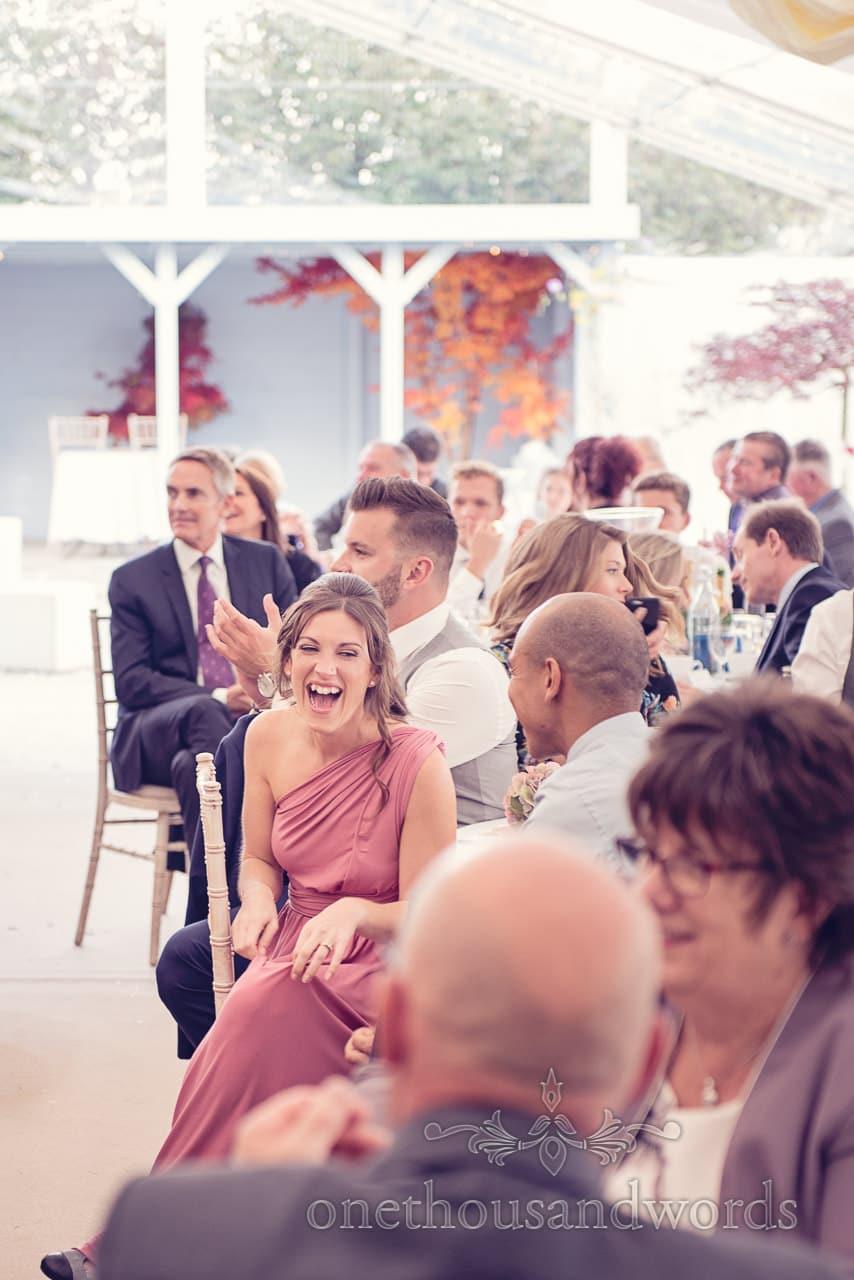 Bridesmaid reaction at Holme for Gardens Dorset wedding
