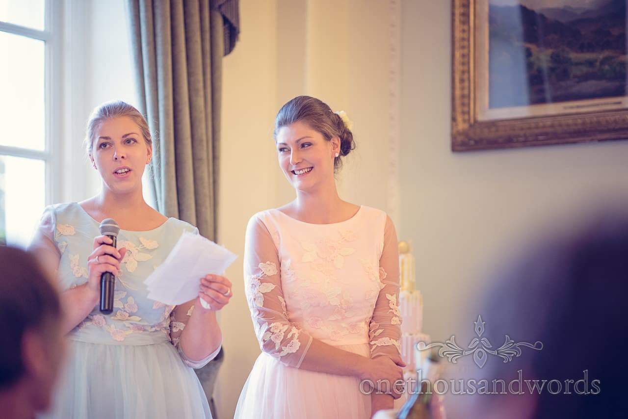 Bridesmaids make wedding speech from Northcote House wedding photographs