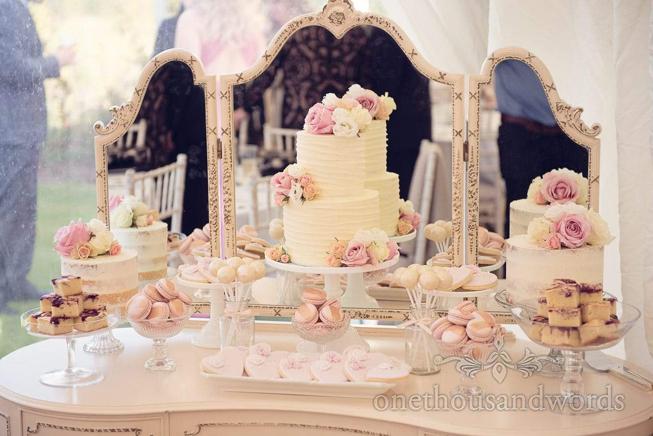 Cake and sweet mirrored dresser from Holme for Gardens Dorset wedding