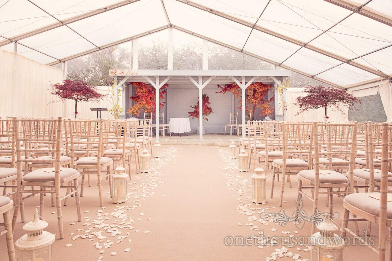 Ceremony space at Holme for Gardens Dorset wedding