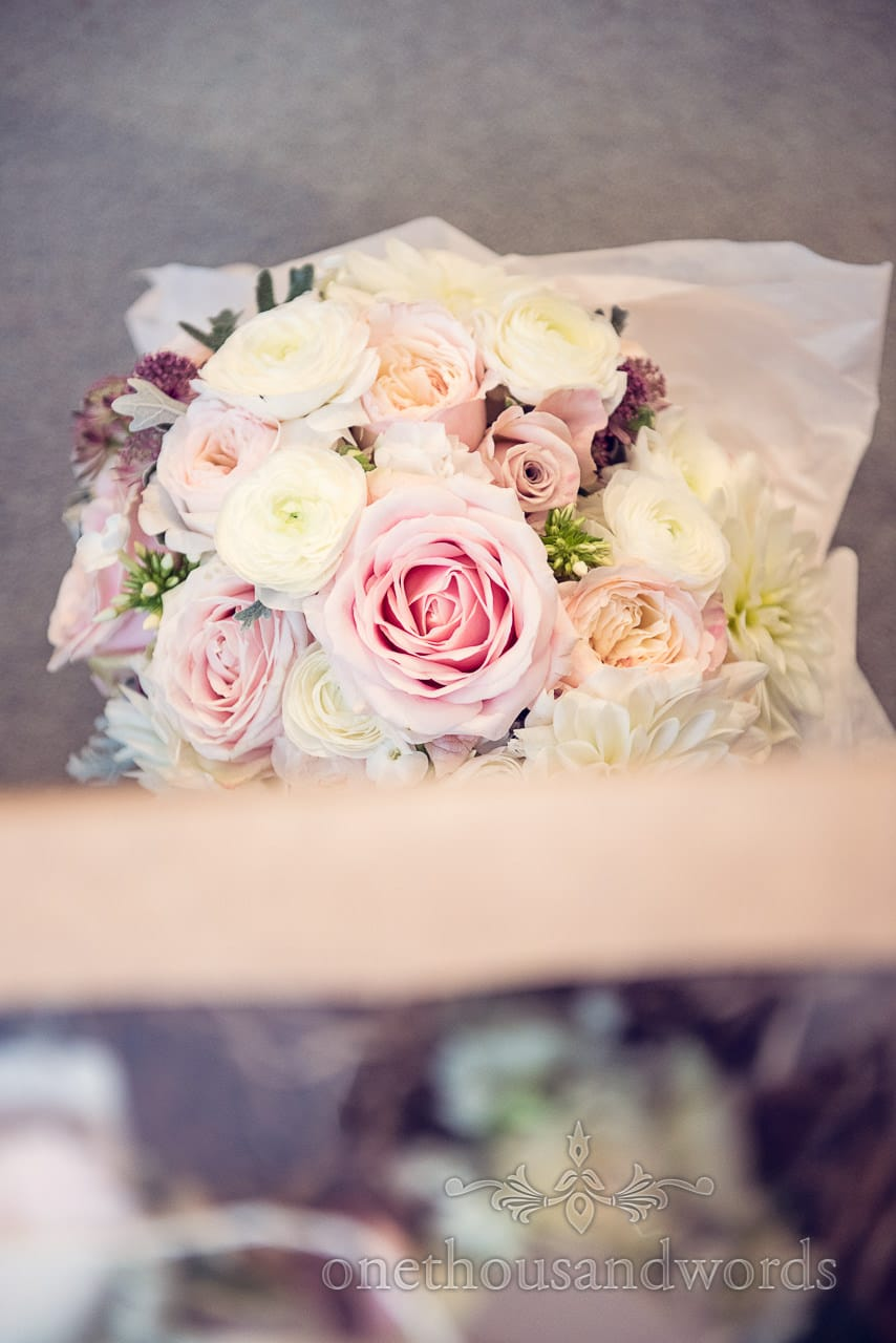 Concept Flowers wedding bouquet with pastel colours and pink roses photograph