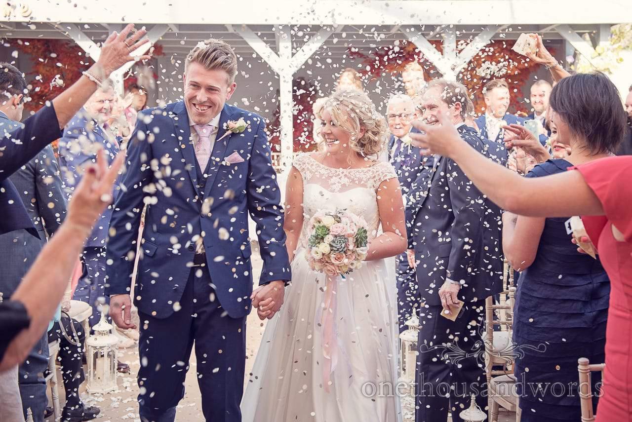 Confetti shower at Holme for Gardens Dorset wedding